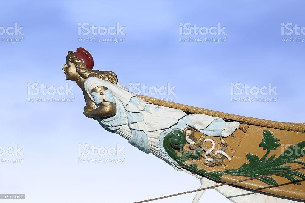 Figurehead on argentine sailing ship stock photo
