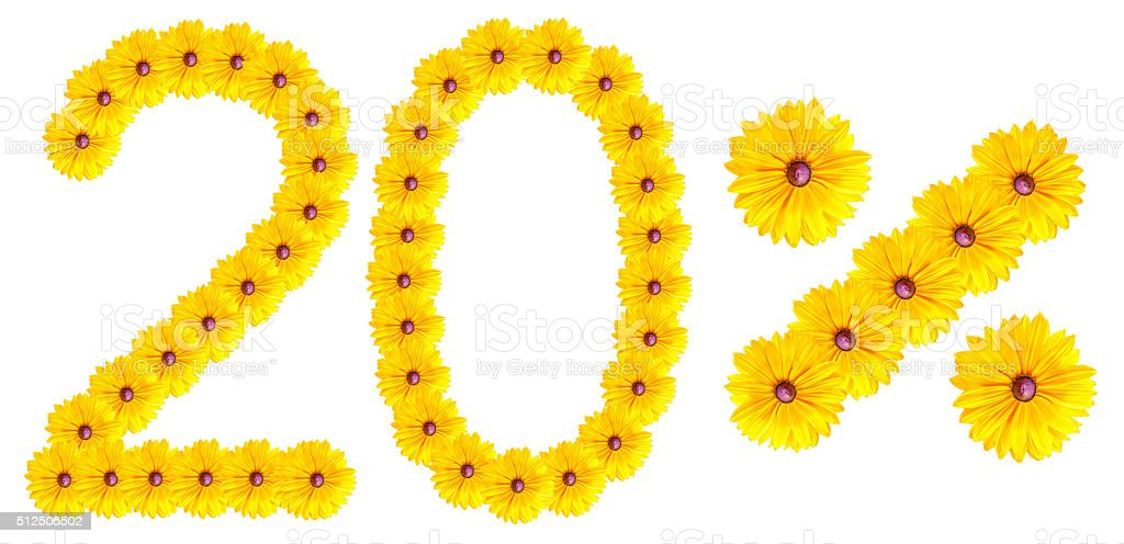 figures 20% of the letters written by flowers stock photo