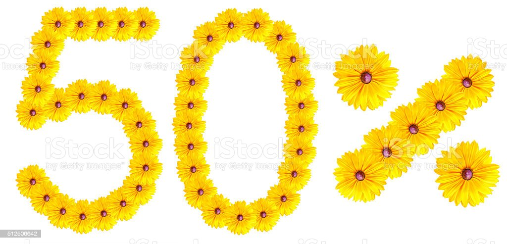 figures 50% of the letters written by flowers stock photo