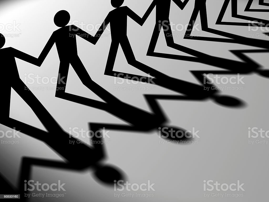 Figures holding hands royalty-free stock photo