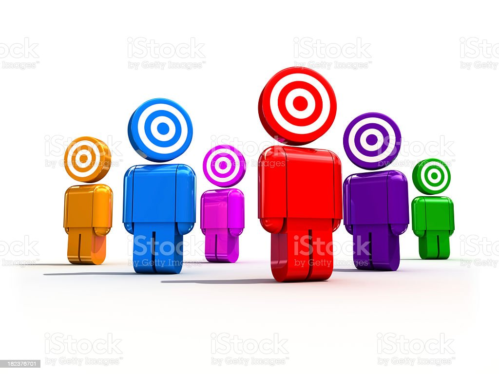 Figures of all colors with target heads stock photo