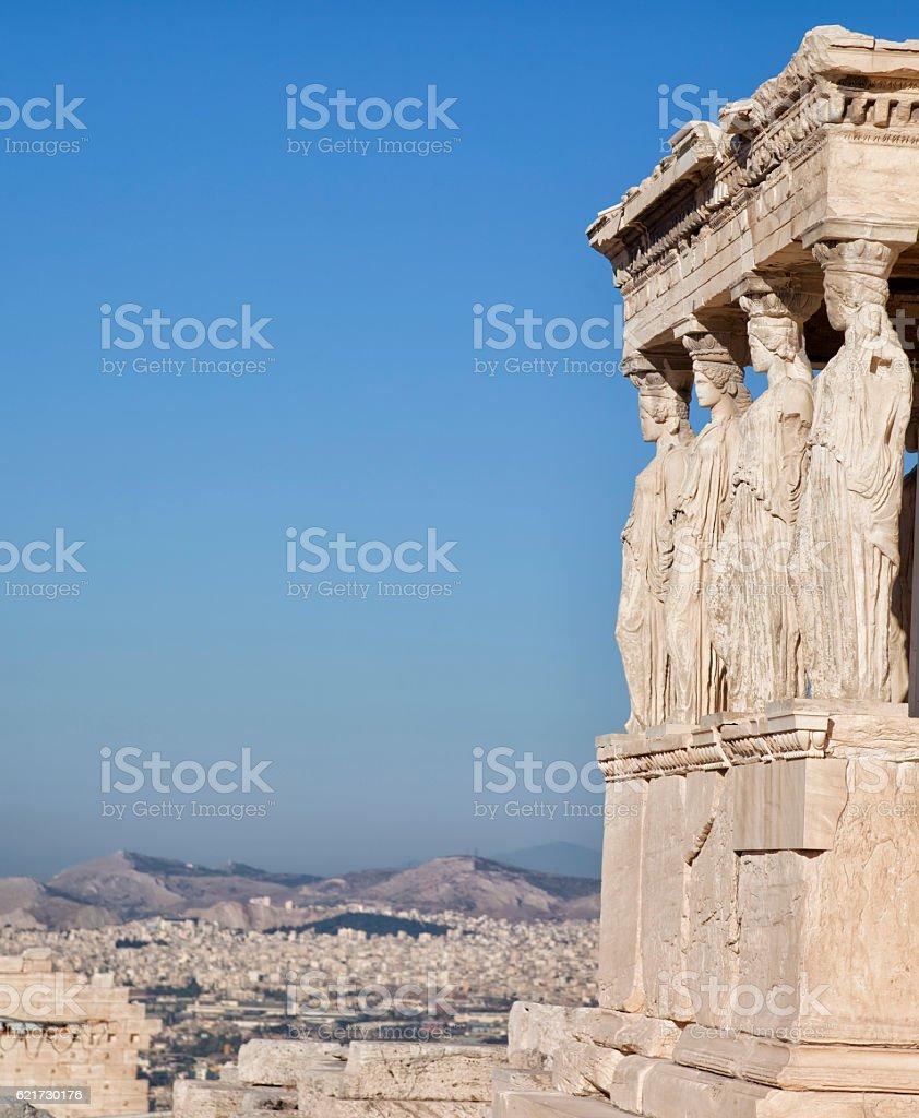 Figures of  Caryatid Porch,Erechtheion on  Acropolis at Athens. Greece stock photo