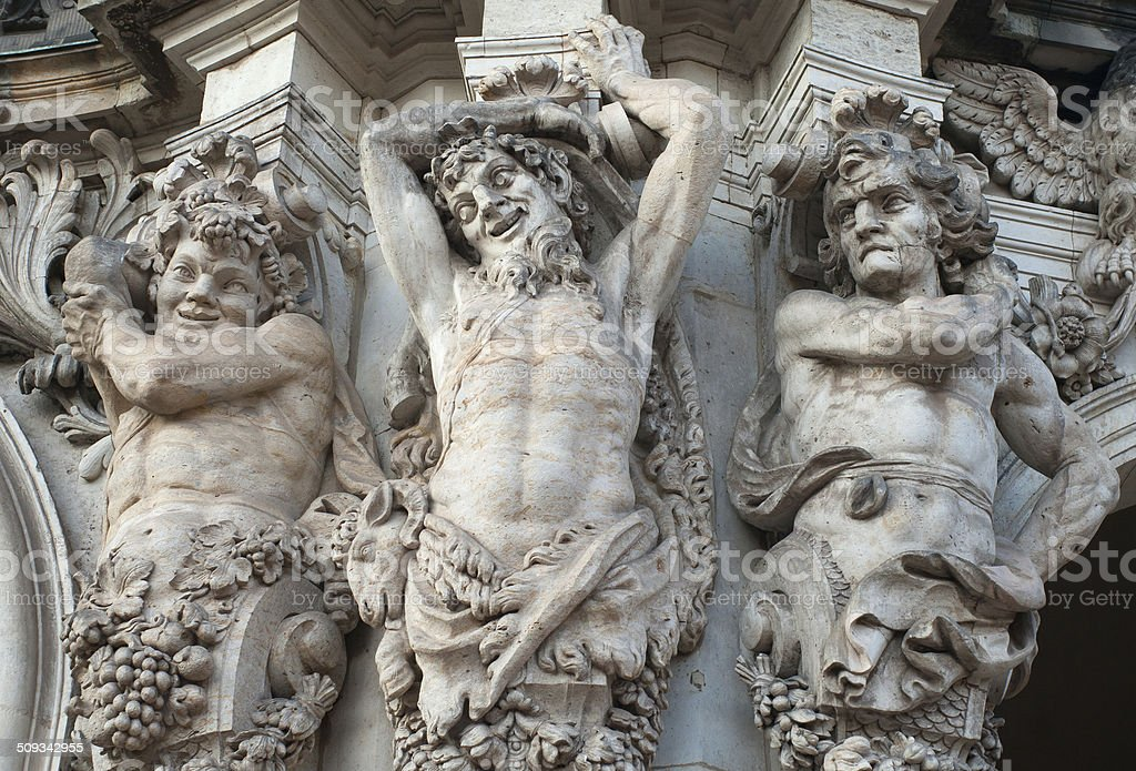 Figures of satyrs in the Zwinger palace in Dresden stock photo