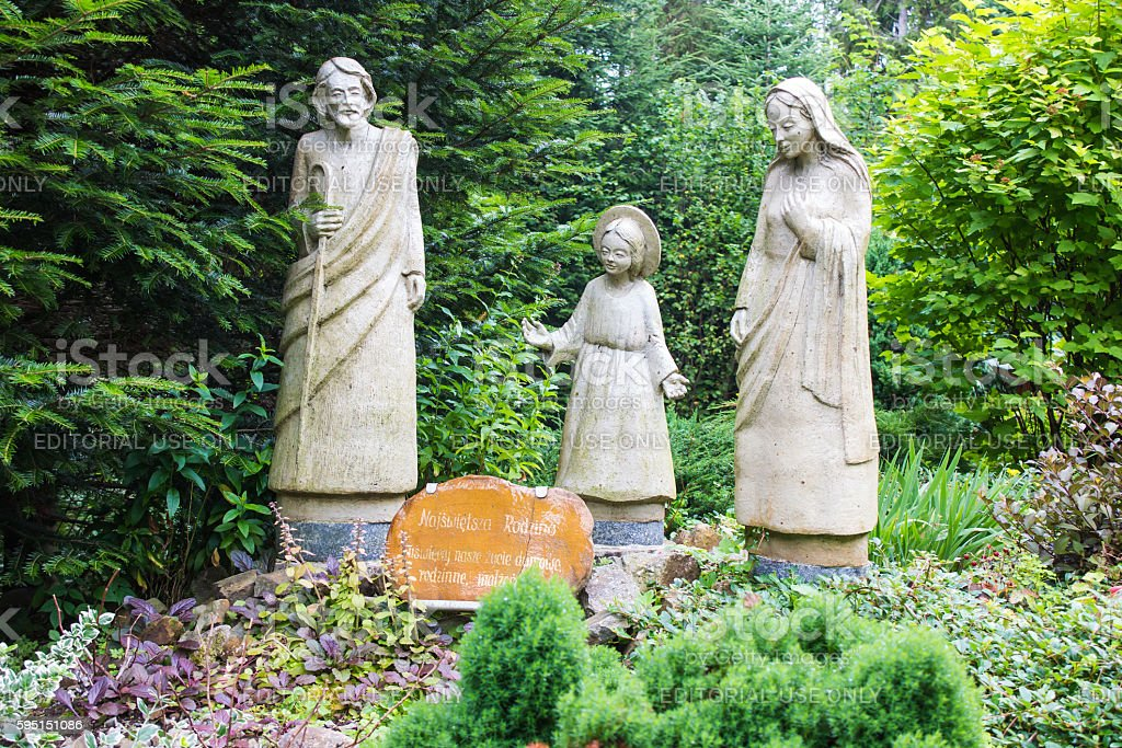 Figures of the holy family  near to the convent, Kamancza. stock photo