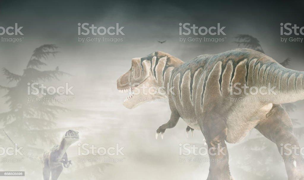 Figures of Tyrannosaurus and Trodon stock photo