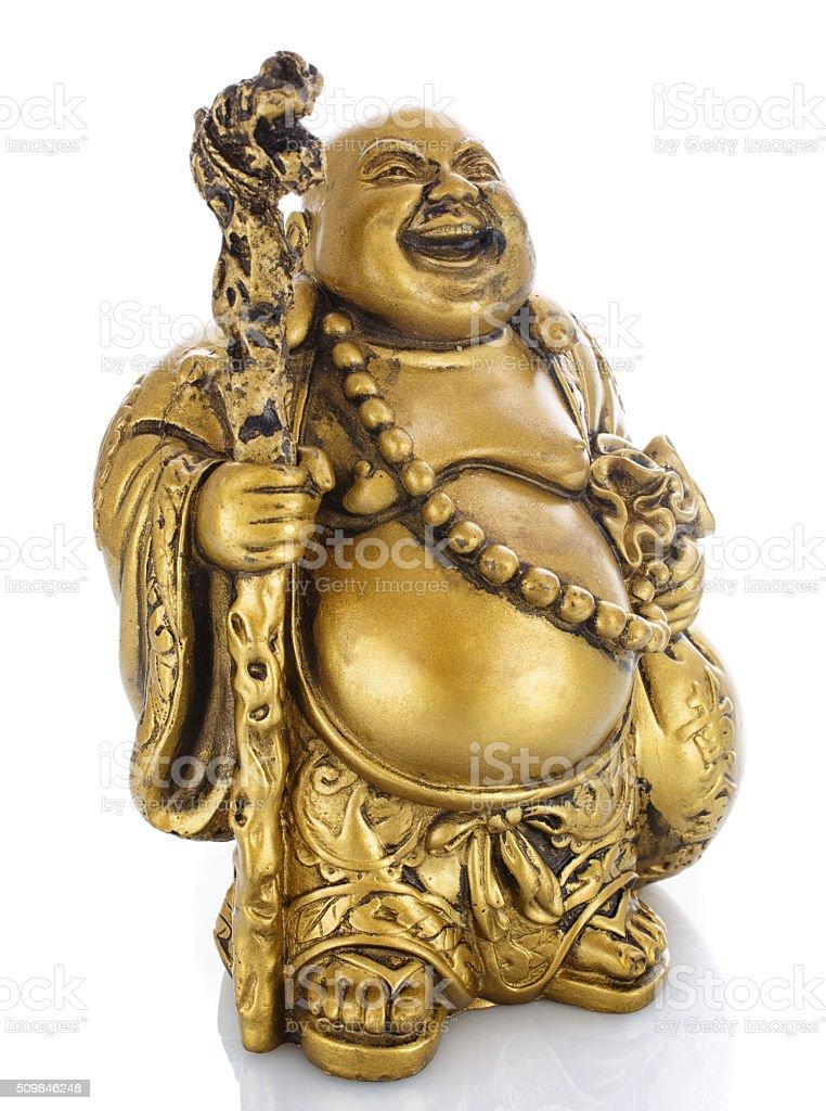 Figurine Cheerful Hotei on a white stock photo