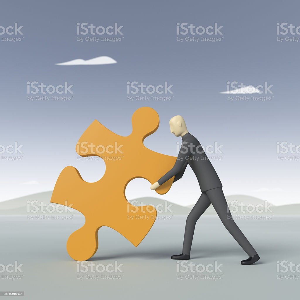 Figurine Dragging Puzzle Piece XL+ royalty-free stock photo