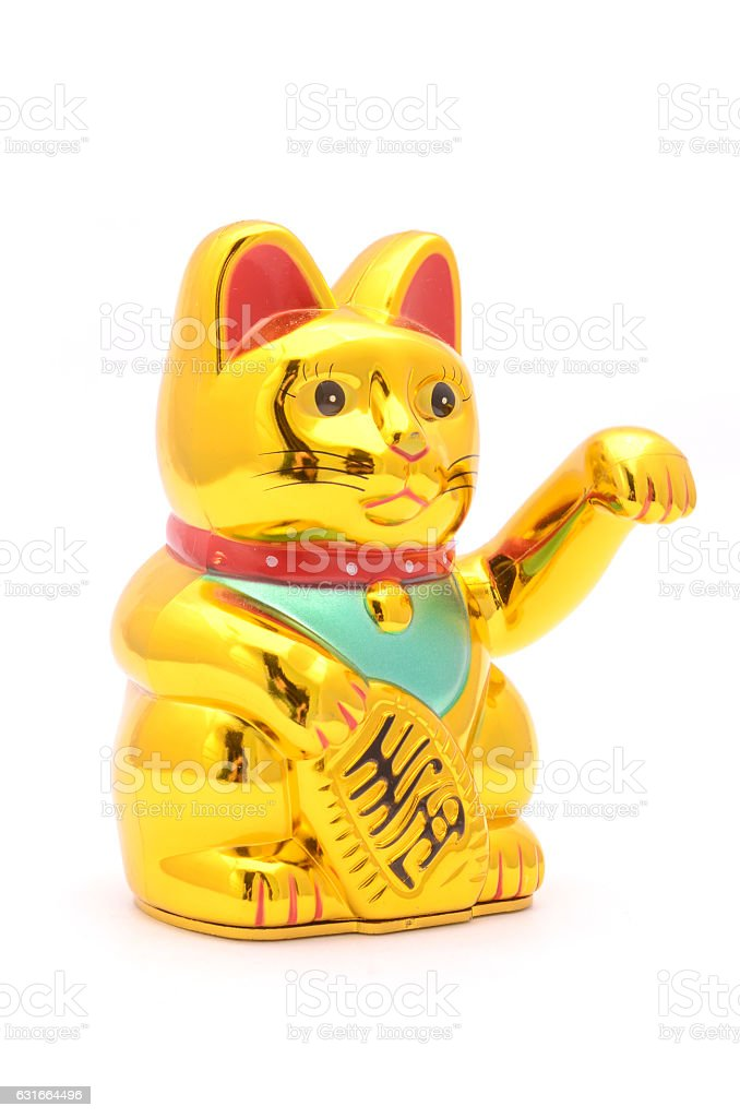 figurine golden cat brings good luck isolated on white stock photo