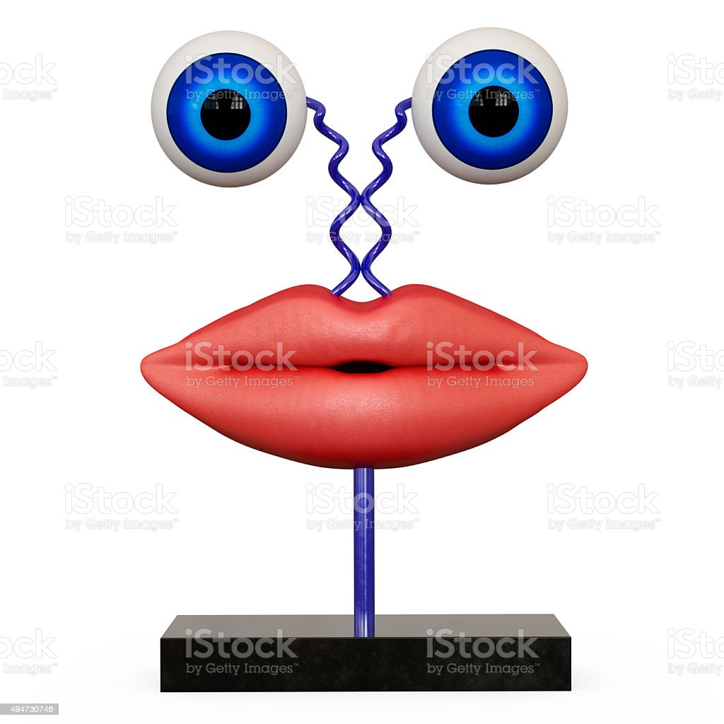 Figurine lips with blue eyes stock photo