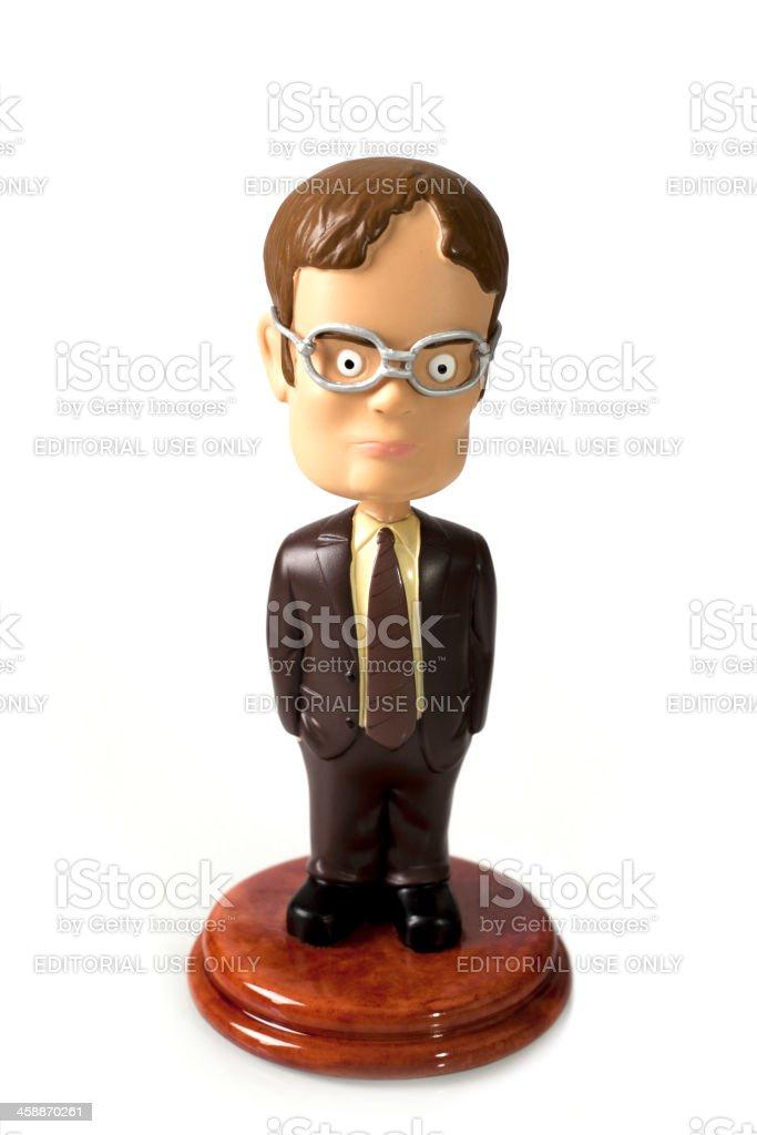 Figurine of Dwight Schrute stock photo
