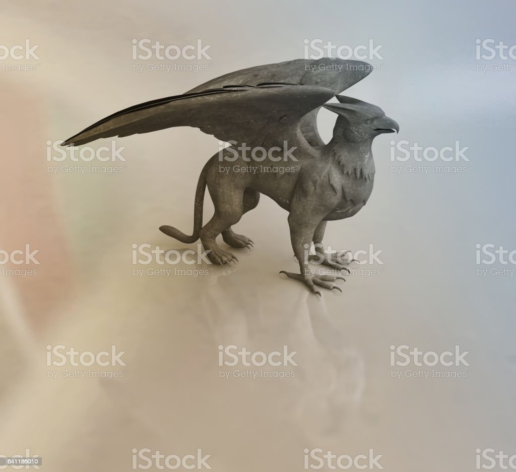 Figurine of Griffine, Mythological Animal stock photo