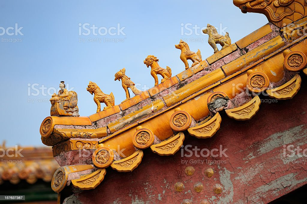 Figurines in Forbidden City royalty-free stock photo