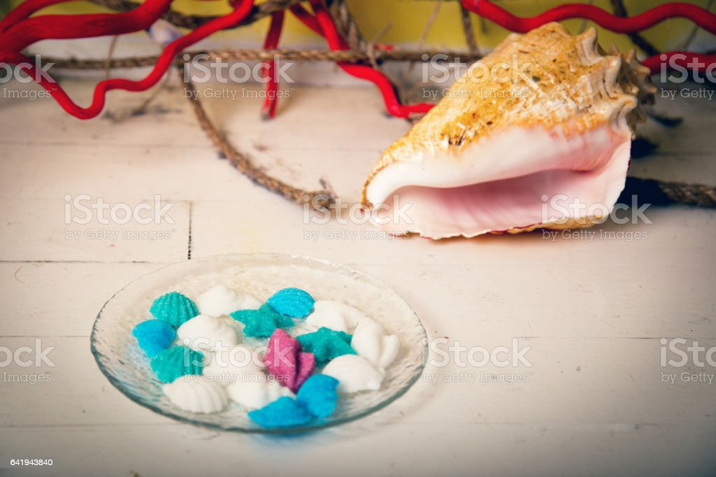 Figurines made of sugar in a glass dish stock photo