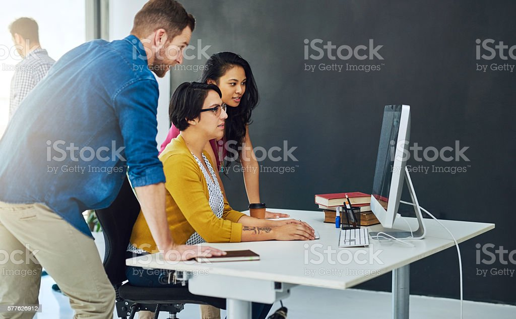 Figuring out how to proceed with their plans stock photo