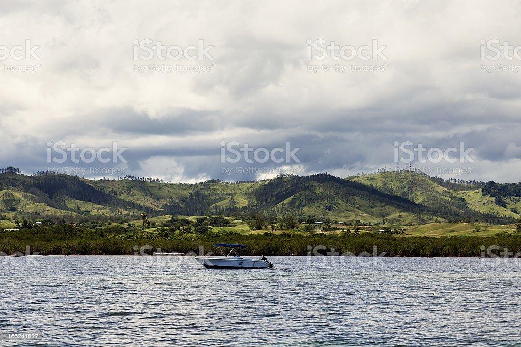 Fiji from the ocean stock photo