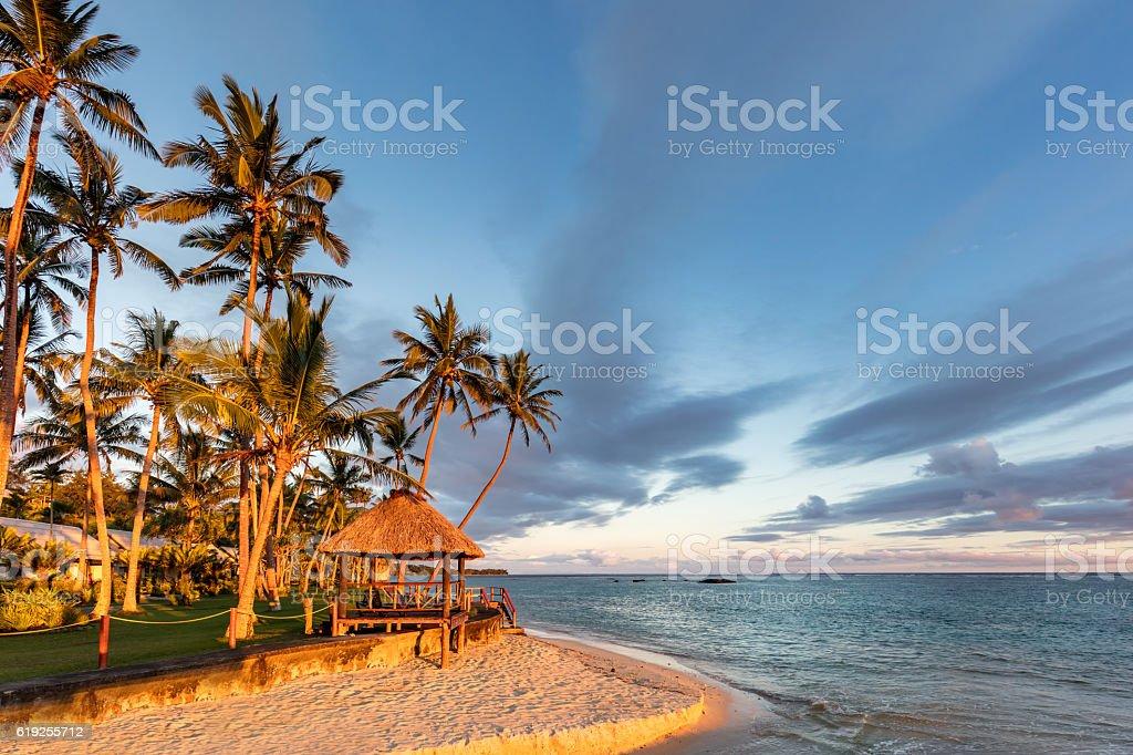 Fiji Island Beach Hut Sunset Coral Coast Viti Levu stock photo