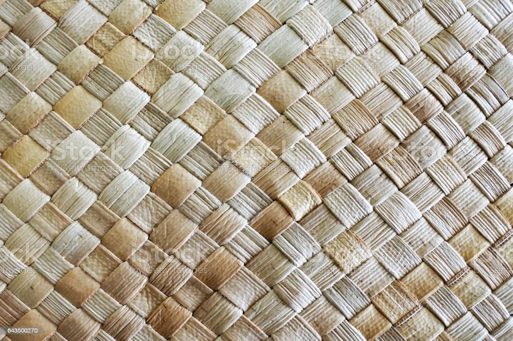 Fijian coconut Palm leaves weaving background stock photo