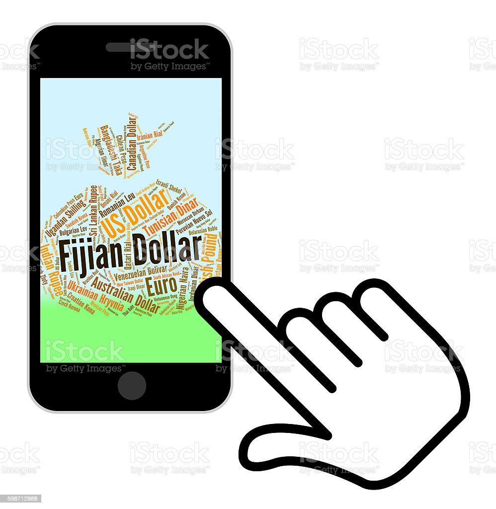 Fijian Dollar Means Forex Trading And Banknotes stock photo