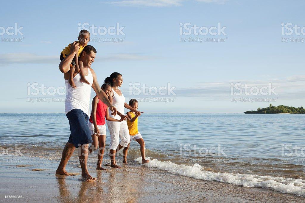 Fijian Family at The Beach royalty-free stock photo