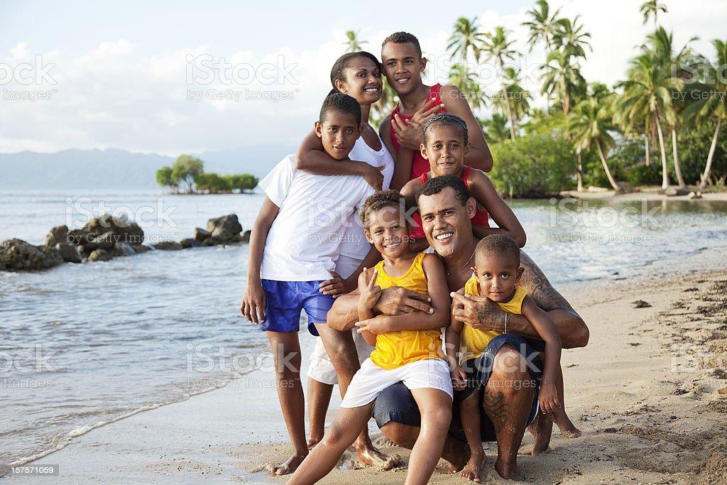 Fijian Family at The Beach stock photo