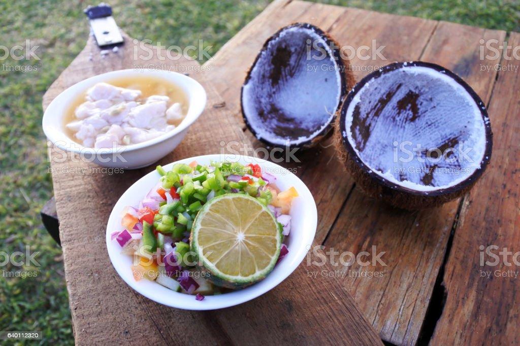 Fijian Food - Kokoda Raw Fish Salad stock photo