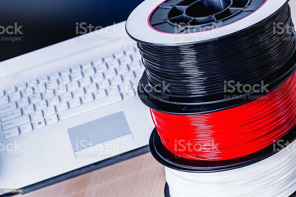 Filament for 3D Printer crystal stock photo