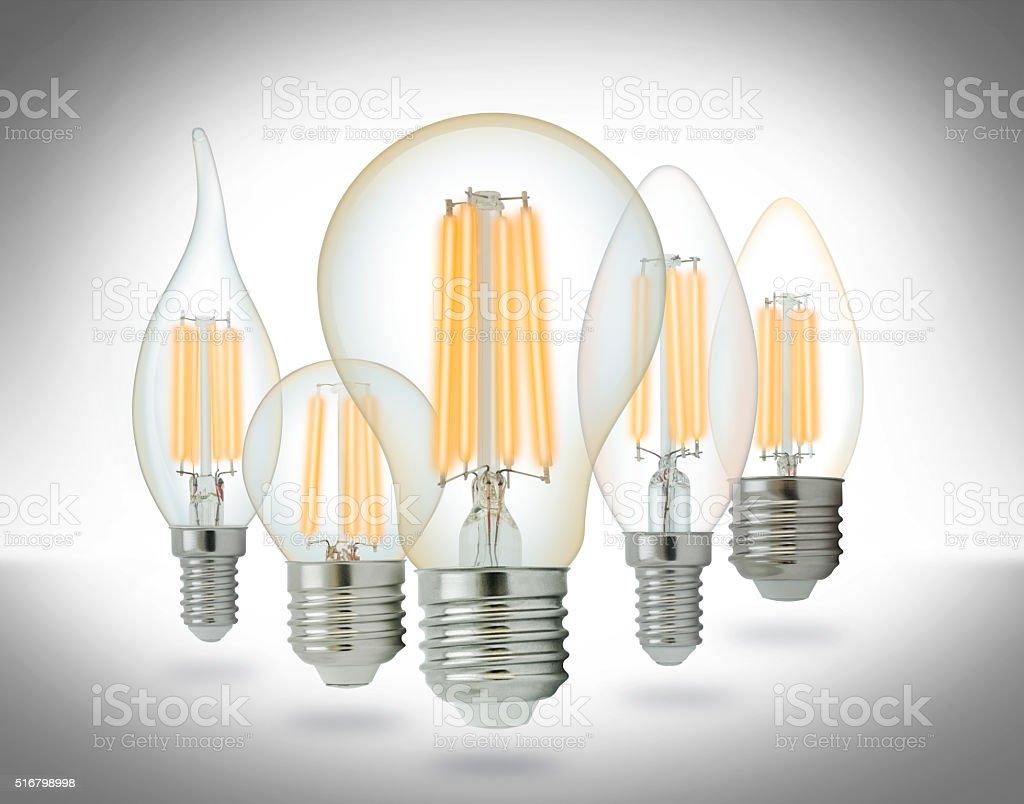 LED filament light bulbs set stock photo