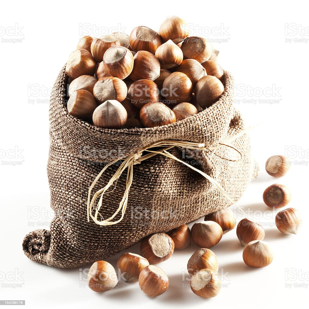 filbert in the pouch (sac, saccule); Nuts on white background royalty-free stock photo
