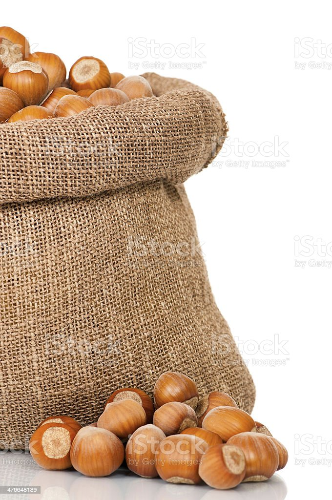 Filberts in bag royalty-free stock photo