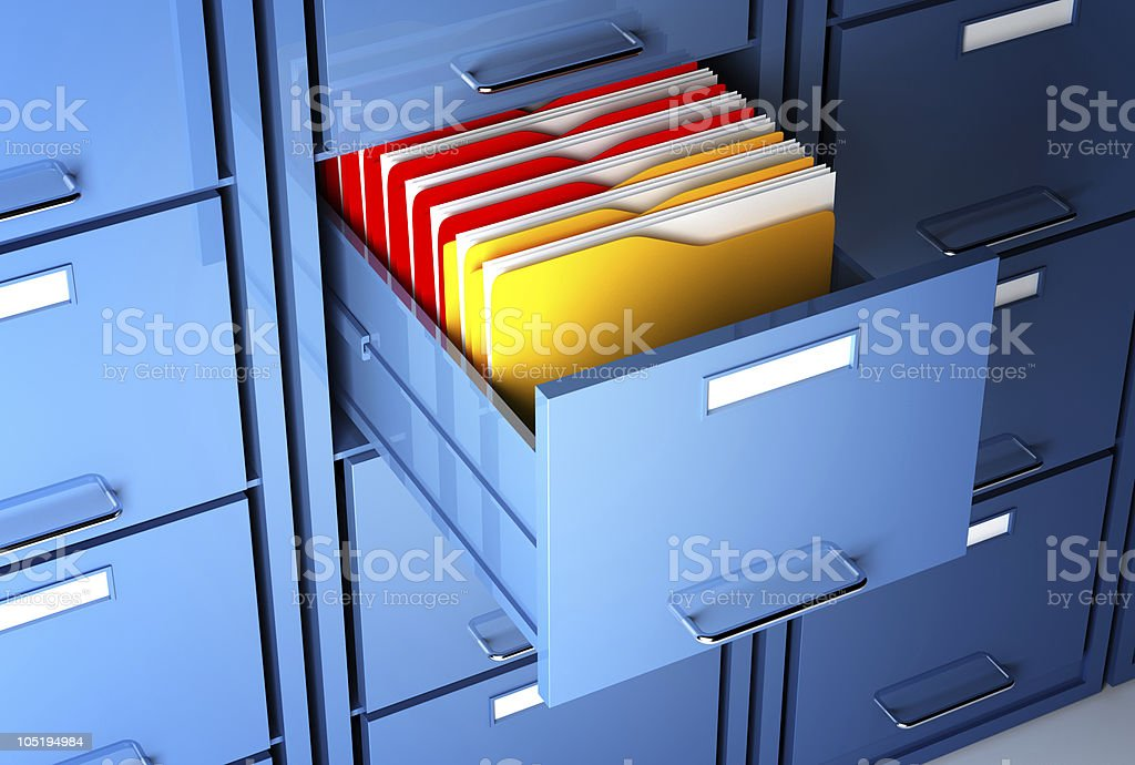 file cabinet and folder vector art illustration