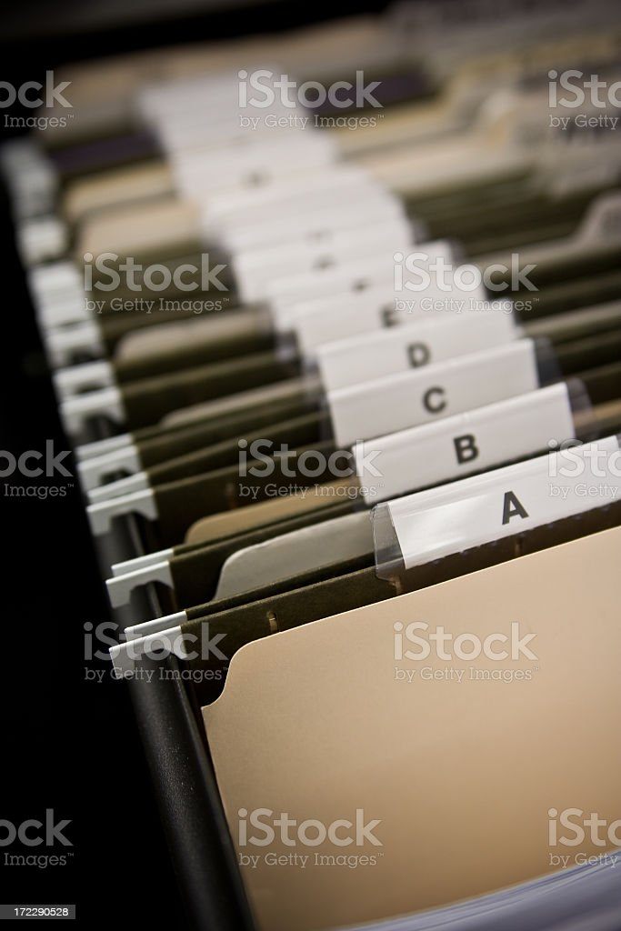 File Cabinet Drawer with Labeled Folders royalty-free stock photo