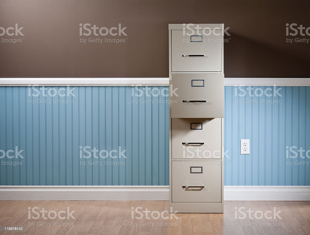 File Cabinet In Empty Domestic Room stock photo