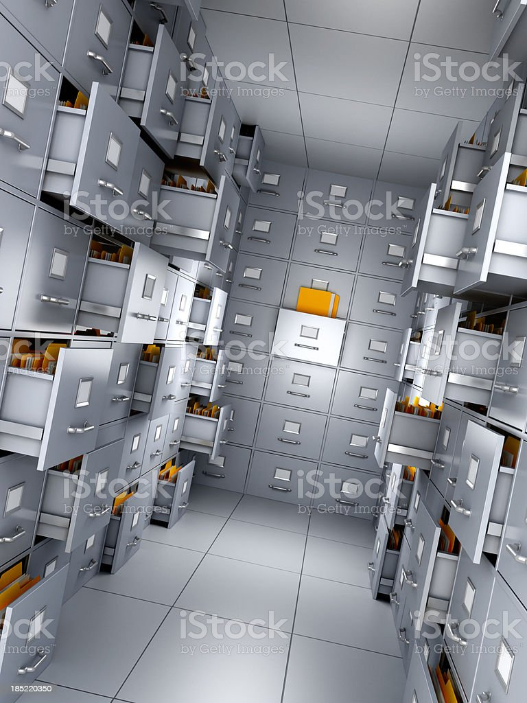 File cabinet with half open closets royalty-free stock photo