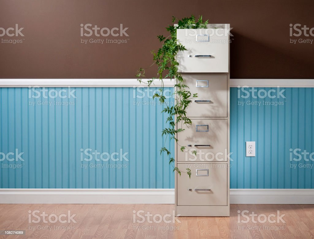 File Cabinet With Vines In Empty Home Office royalty-free stock photo