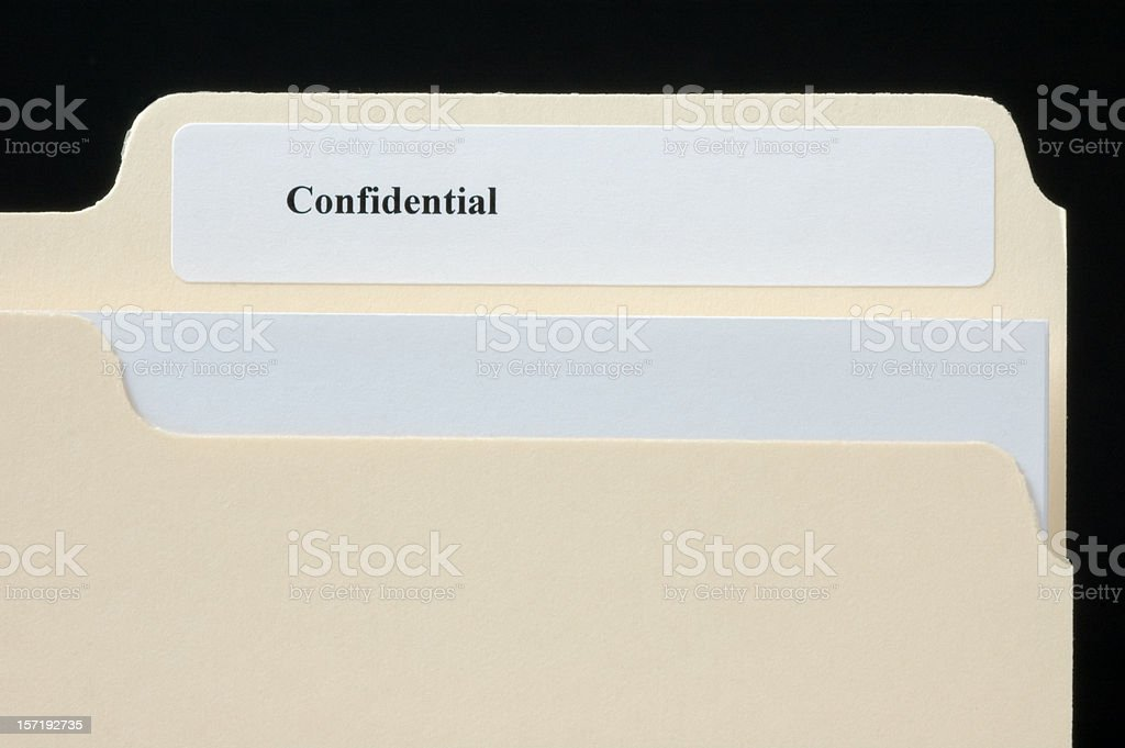 File folder macro with the word Confidential royalty-free stock photo