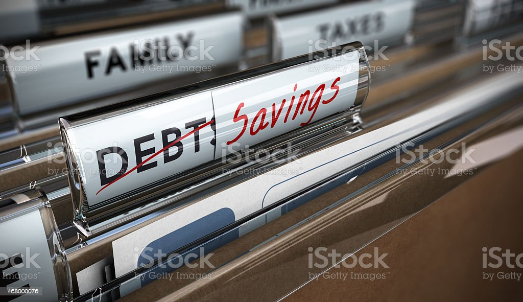 File folder tab with debt replaced by savings  stock photo