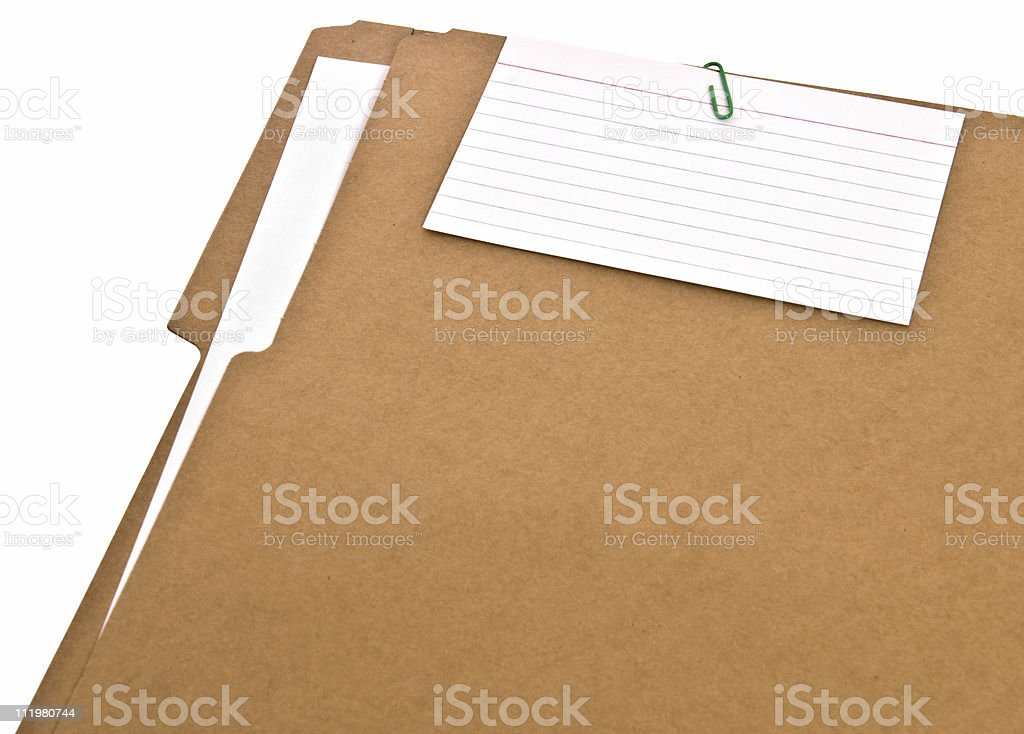 File Folder with Blank Note Isolated royalty-free stock photo