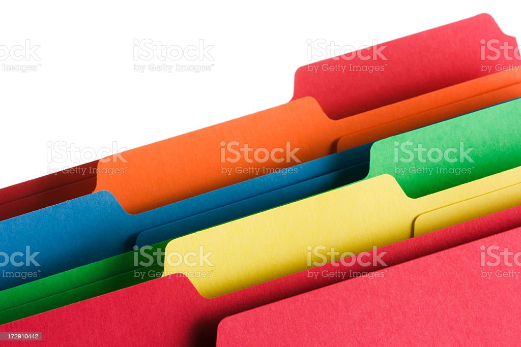 File Folders and Document Office Supply organized in Muti Color stock photo
