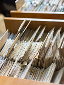 File folders in a file cabinet, card catalog