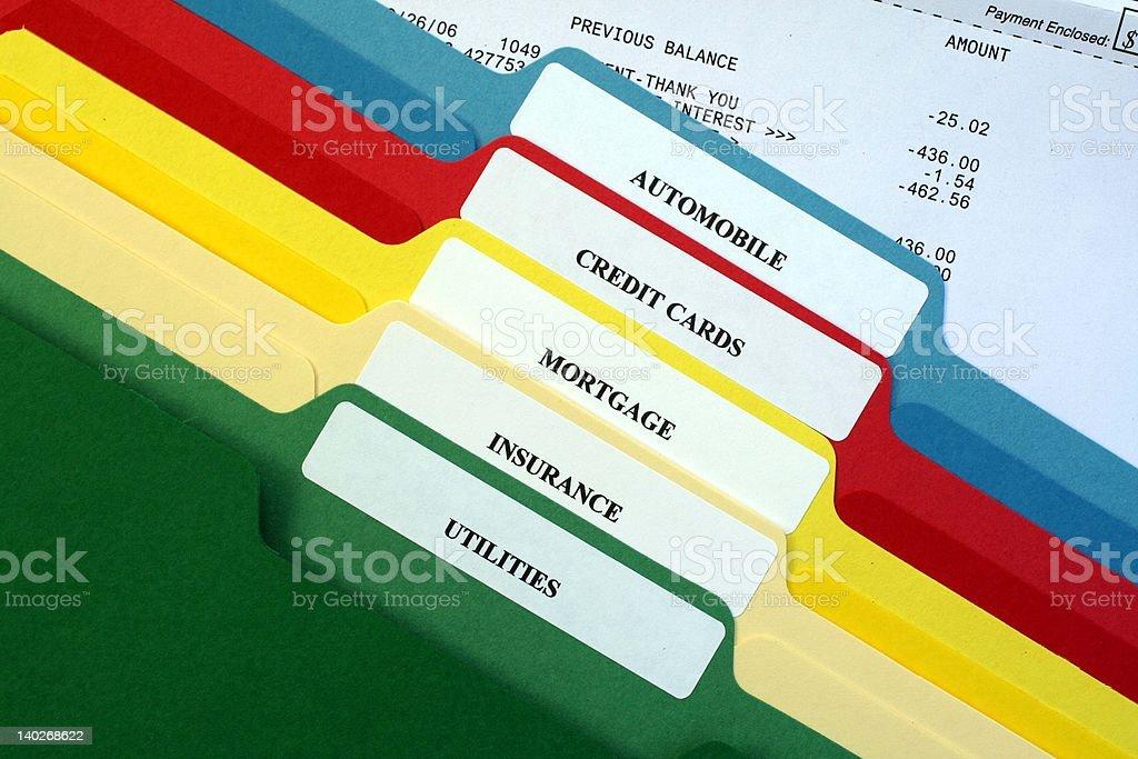 File Folders of Bills stock photo