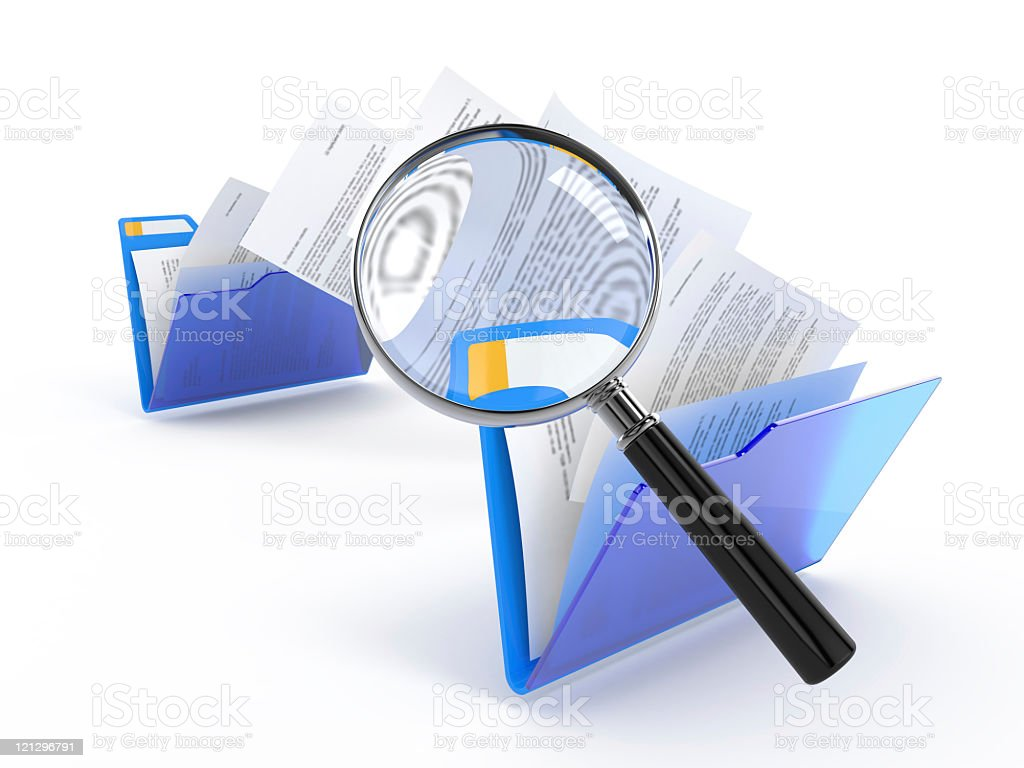 File folders with papers and a magnifying glass stock photo