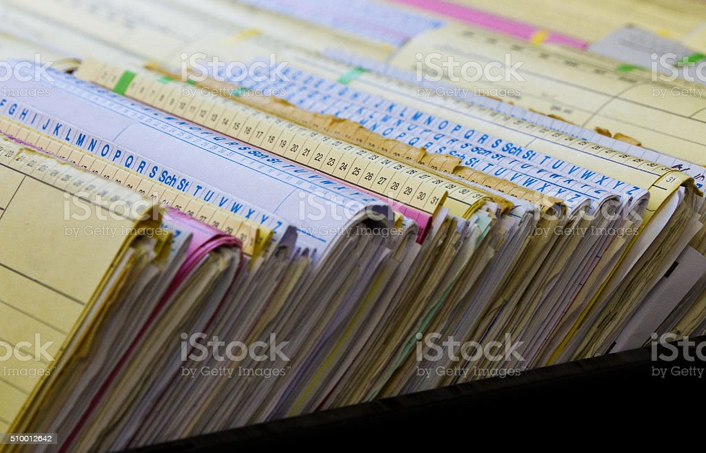 File folders with personal documents stock photo