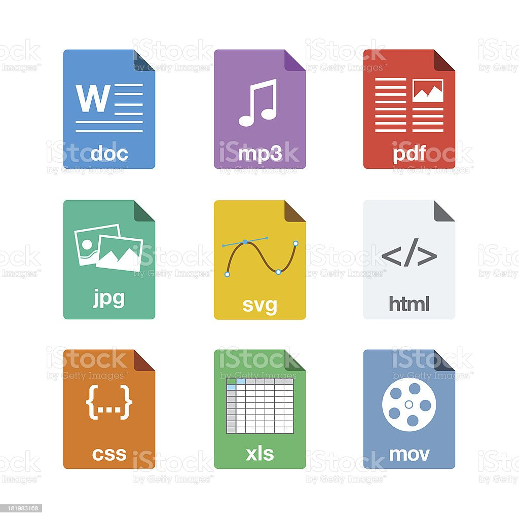 File Icons in Flat Style stock photo