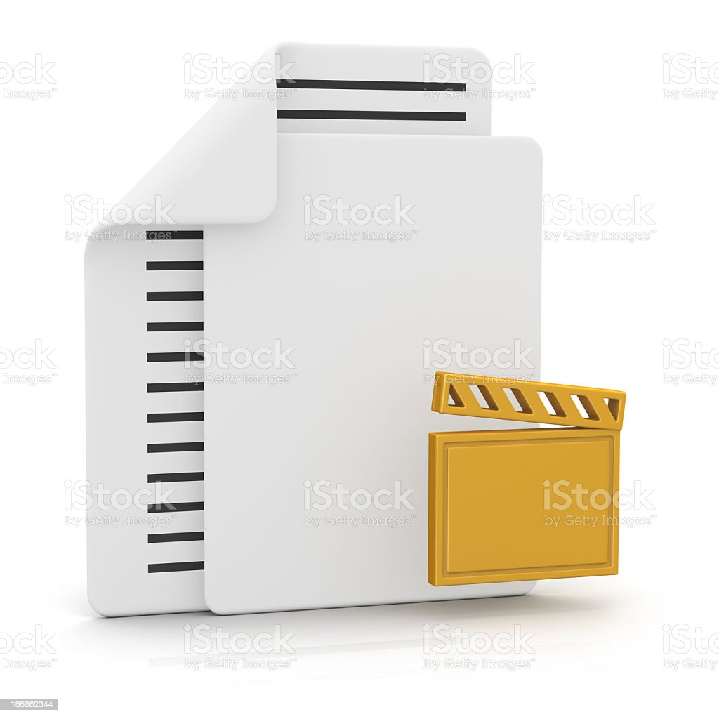 Files and Clapperboard royalty-free stock photo
