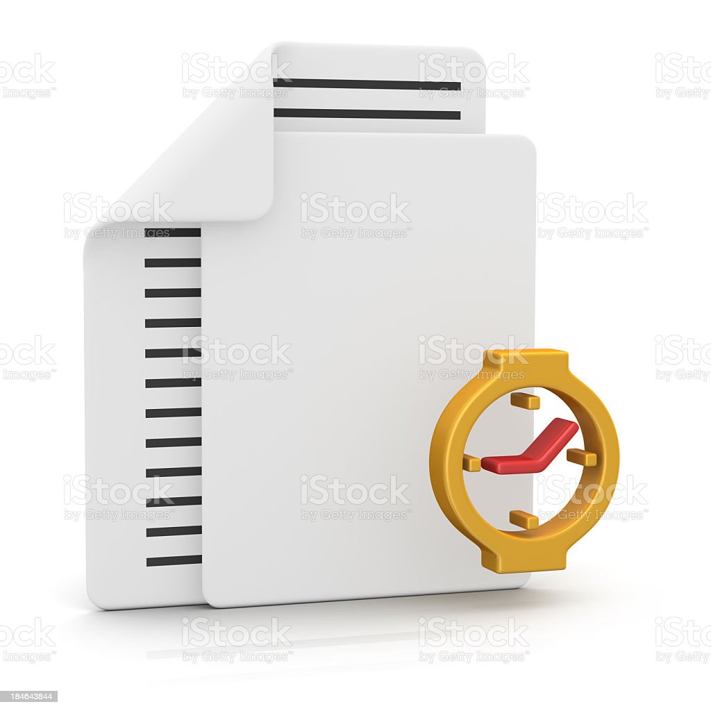 Files and Clock stock photo