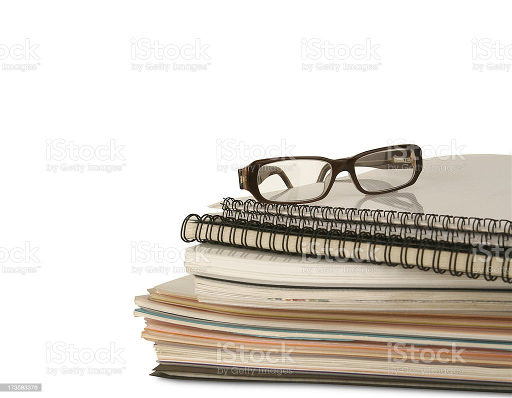 Files and glasses royalty-free stock photo