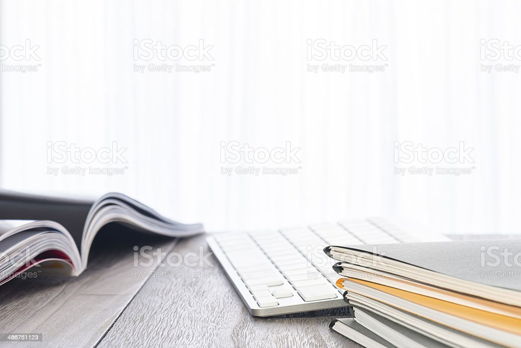 Files and keyboard. stock photo