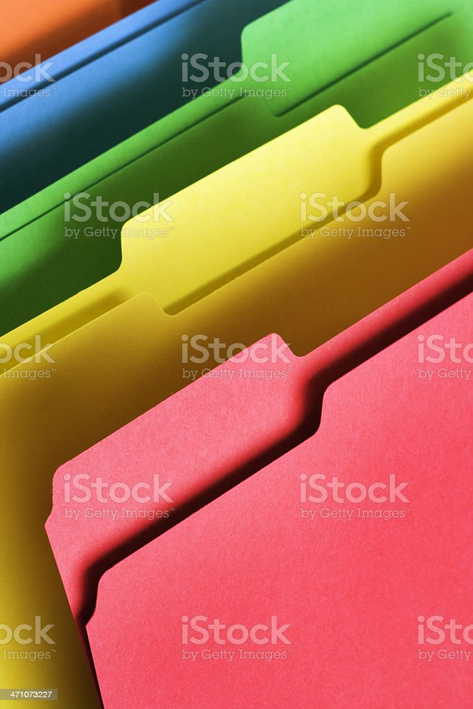 Files, Document Paper Work Organization Office Supply in Rainbow Colors stock photo