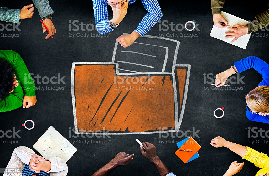 Files Folder Storage Information Database Directory Archive Conc stock photo