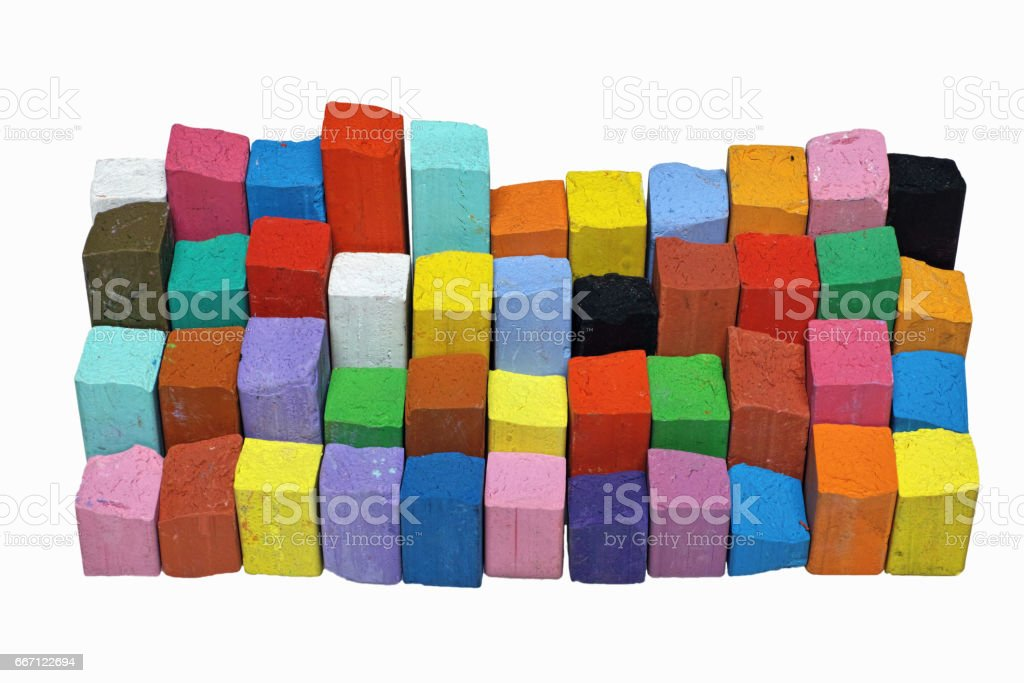files of broken chalks stock photo